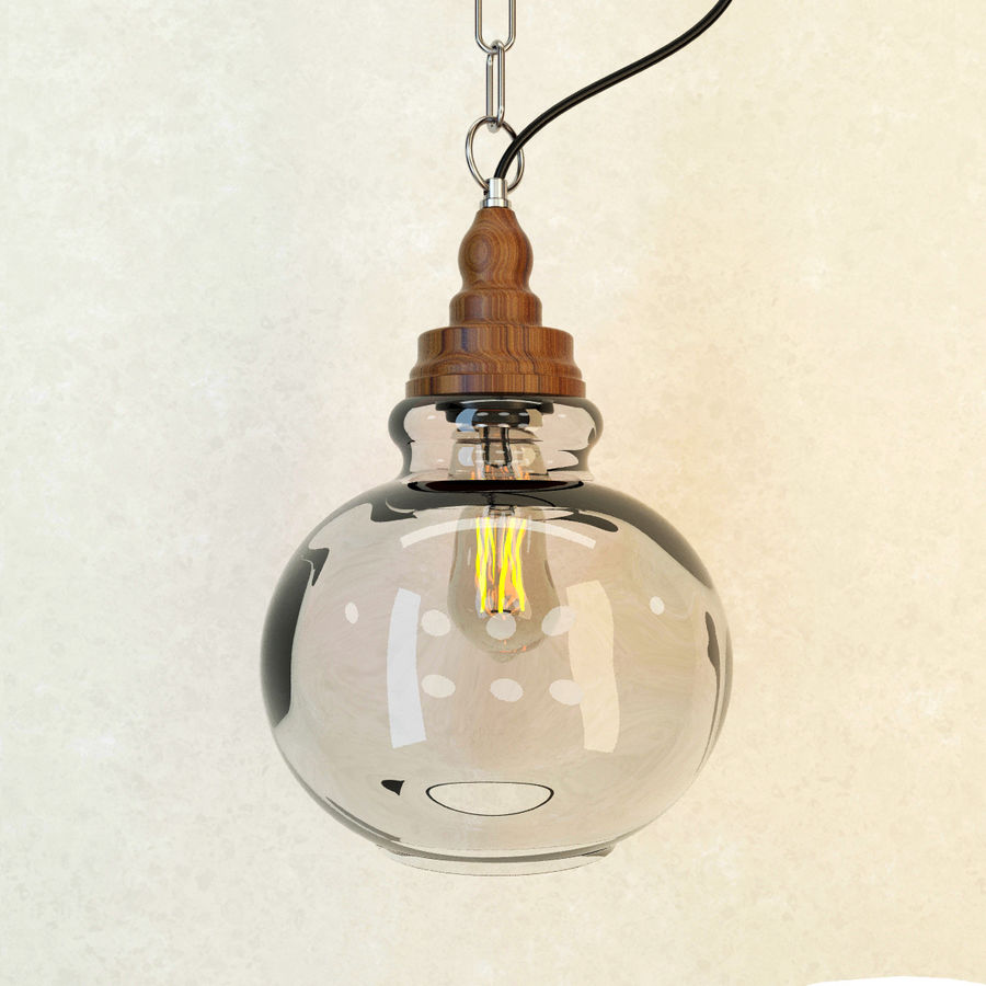 Glas & Holz Lampe royalty-free 3d model - Preview no. 6