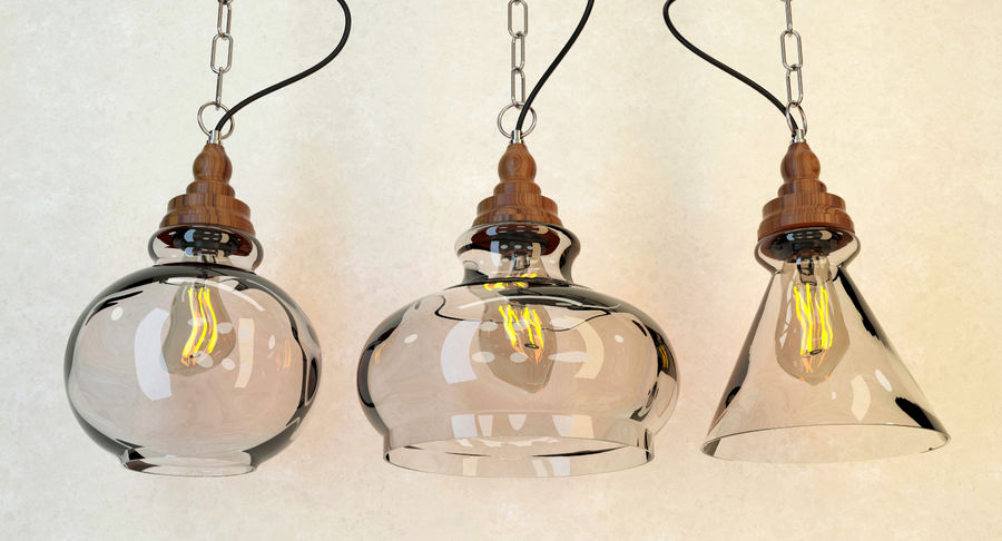 Glas & Holz Lampe royalty-free 3d model - Preview no. 2
