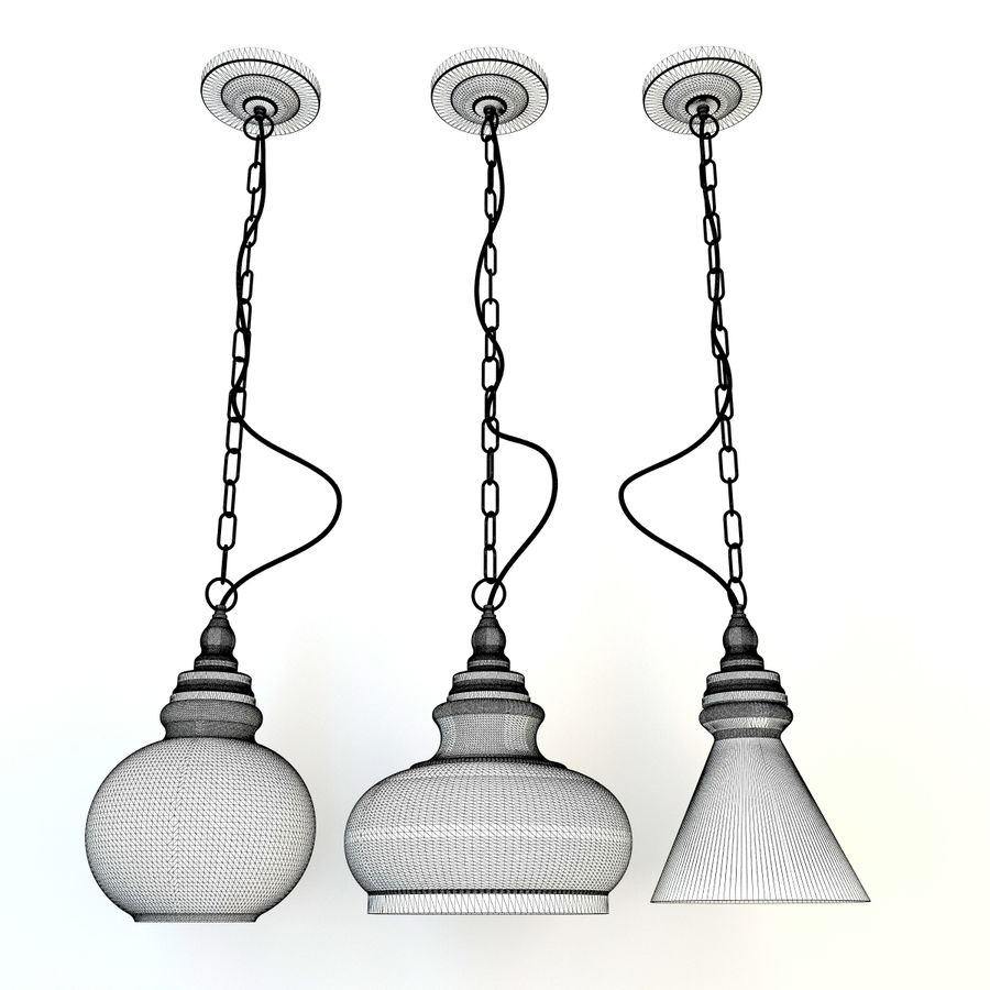 Glas & Holz Lampe royalty-free 3d model - Preview no. 7
