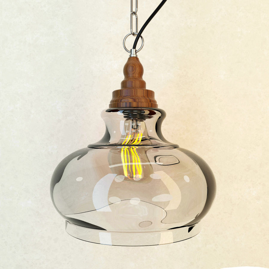 Glas & Holz Lampe royalty-free 3d model - Preview no. 4