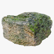 Old Limestone with Moss 3d model