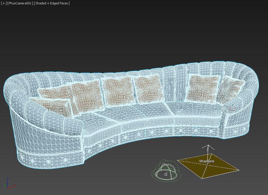곡선 소파 royalty-free 3d model - Preview no. 3