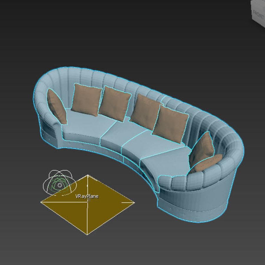 곡선 소파 royalty-free 3d model - Preview no. 4
