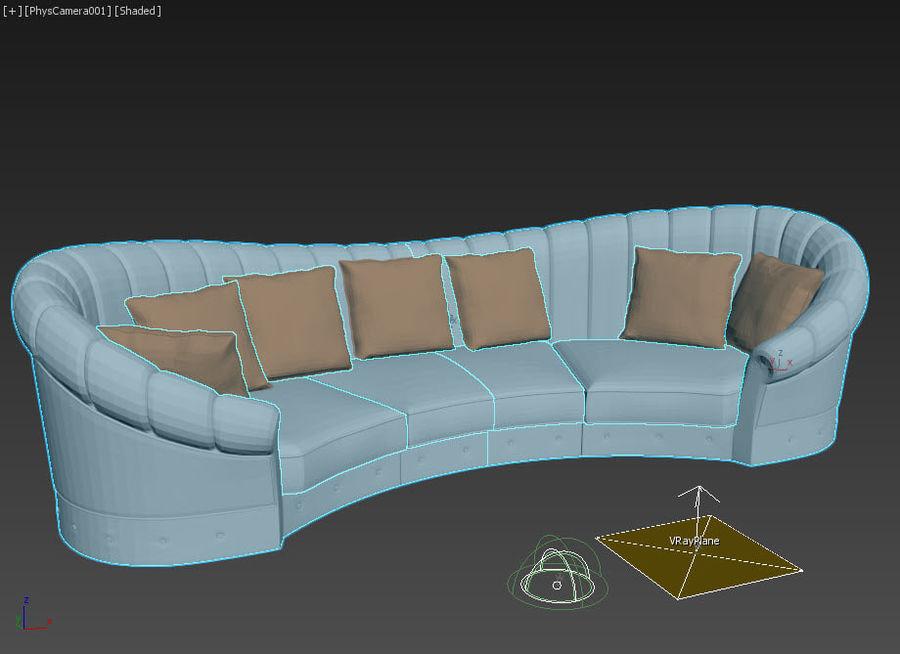 곡선 소파 royalty-free 3d model - Preview no. 2
