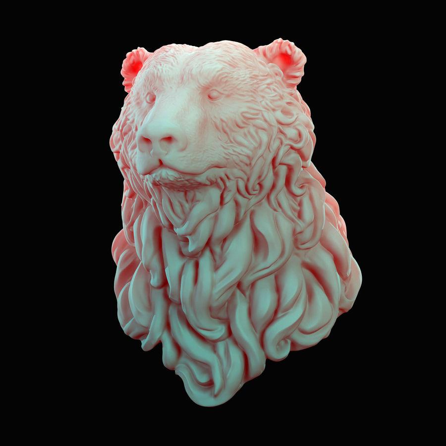 Cabeça de urso encaracolada royalty-free 3d model - Preview no. 2