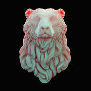 Bear head curly 3d model