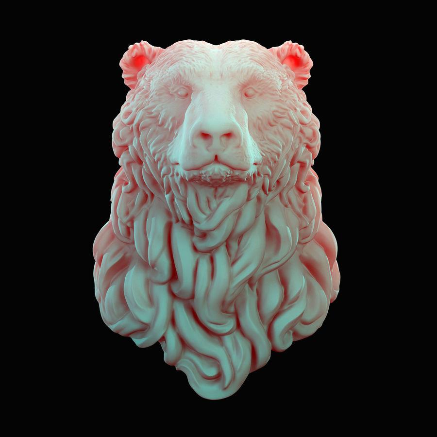 Cabeça de urso encaracolada royalty-free 3d model - Preview no. 1