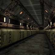 Segmento de corredor de nave espacial de ciencia ficción de baja poli modelo 3d