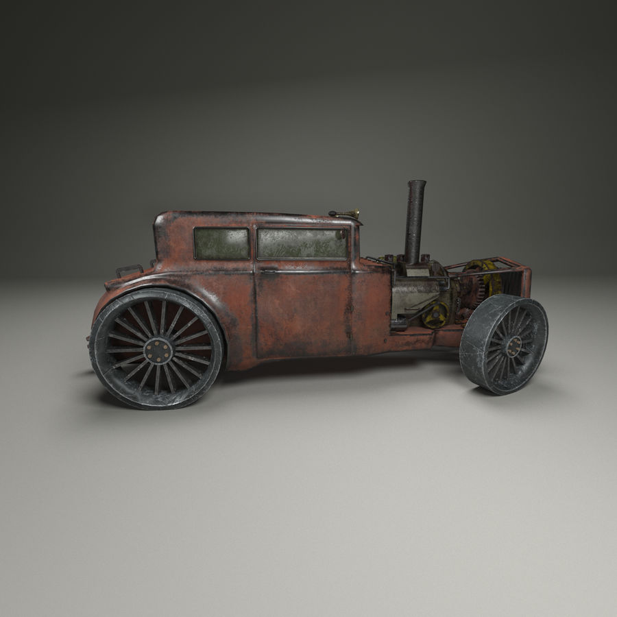 Voiture steampunk royalty-free 3d model - Preview no. 4