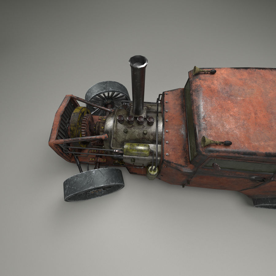 Carro Steampunk royalty-free 3d model - Preview no. 6