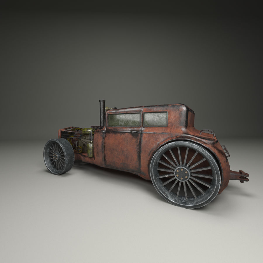Voiture steampunk royalty-free 3d model - Preview no. 1