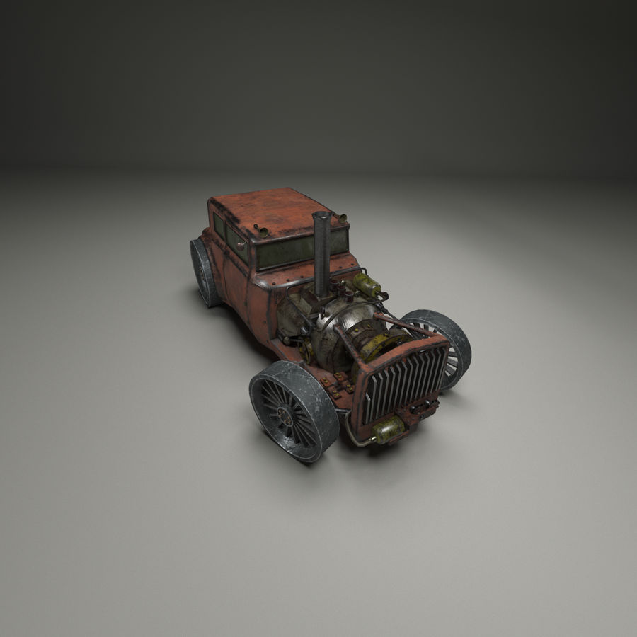Voiture steampunk royalty-free 3d model - Preview no. 3
