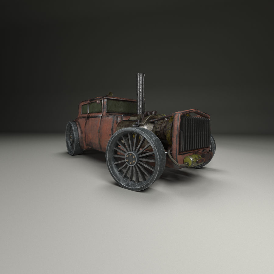 Voiture steampunk royalty-free 3d model - Preview no. 5