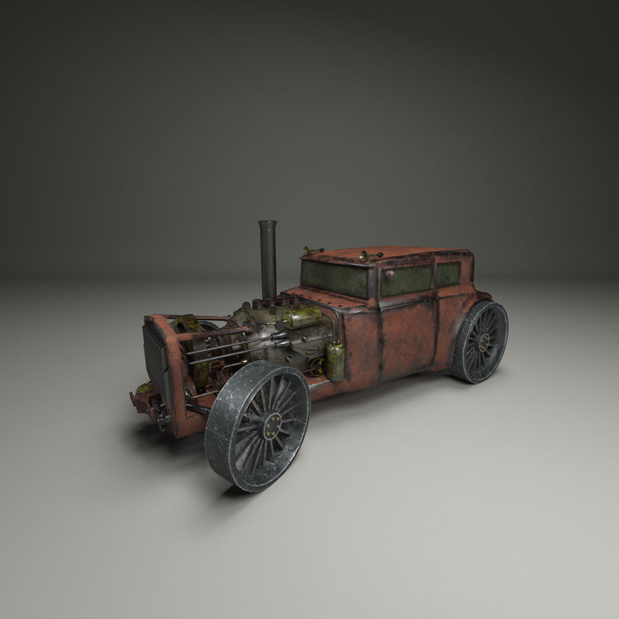 Voiture steampunk royalty-free 3d model - Preview no. 2