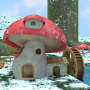 버섯 집 3d model