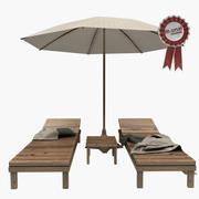 Liege und Sonnenschirm 3d model
