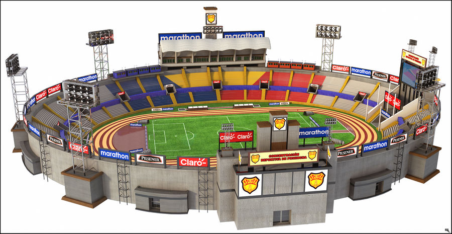 Stadion piłkarski royalty-free 3d model - Preview no. 1
