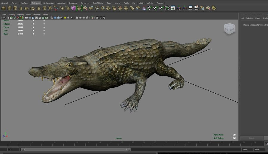 krokodil låg poly spel redo royalty-free 3d model - Preview no. 25