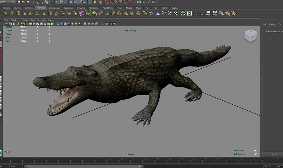 krokodil låg poly spel redo royalty-free 3d model - Preview no. 28