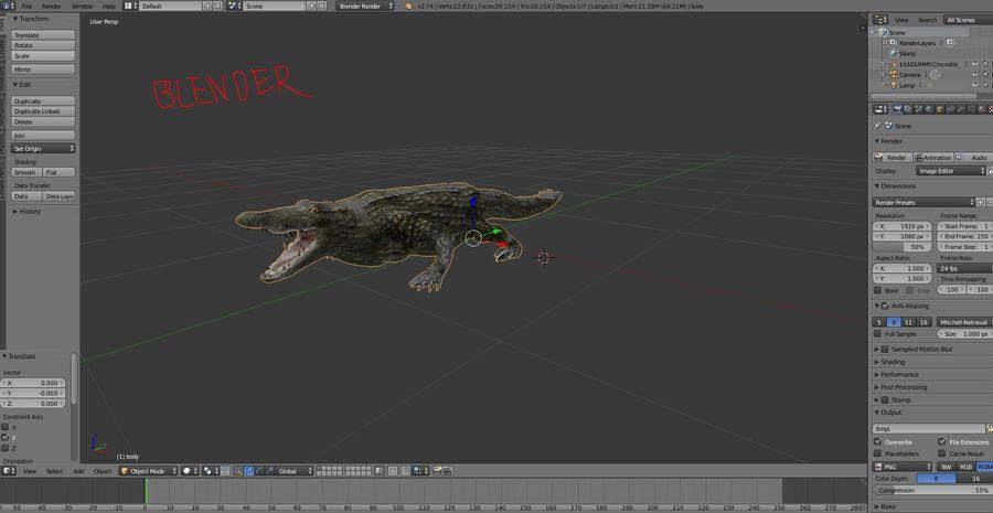 krokodil låg poly spel redo royalty-free 3d model - Preview no. 22