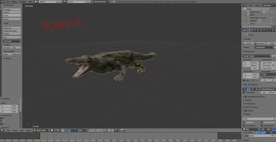 krokodil låg poly spel redo royalty-free 3d model - Preview no. 31