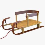 Klassisk träsläde 3d model