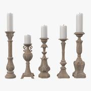 Five Tuscan-Wash Candlesticks 3d model
