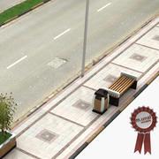 보도 및 도로 3d model