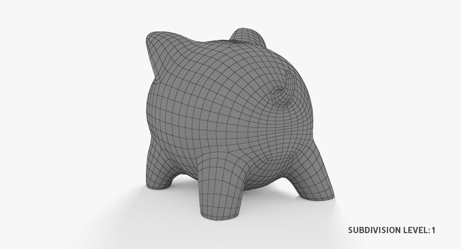 Piggy Bank Pig royalty-free 3d model - Preview no. 11