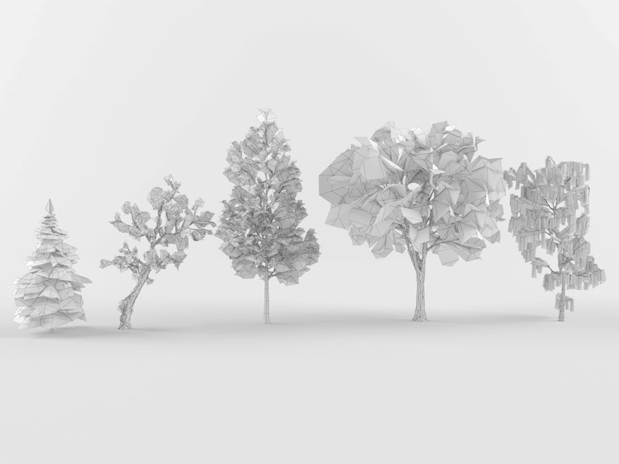 Collection of winter trees royalty-free 3d model - Preview no. 5