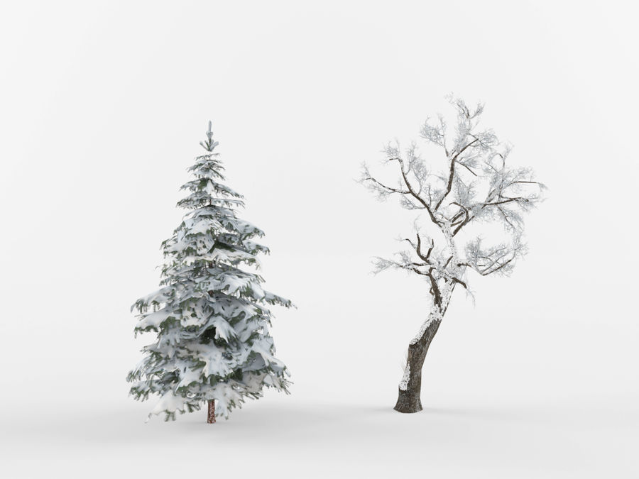 Collection of winter trees royalty-free 3d model - Preview no. 2
