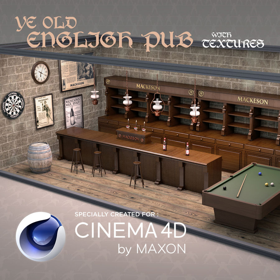 Old English Pub royalty-free 3d model - Preview no. 1