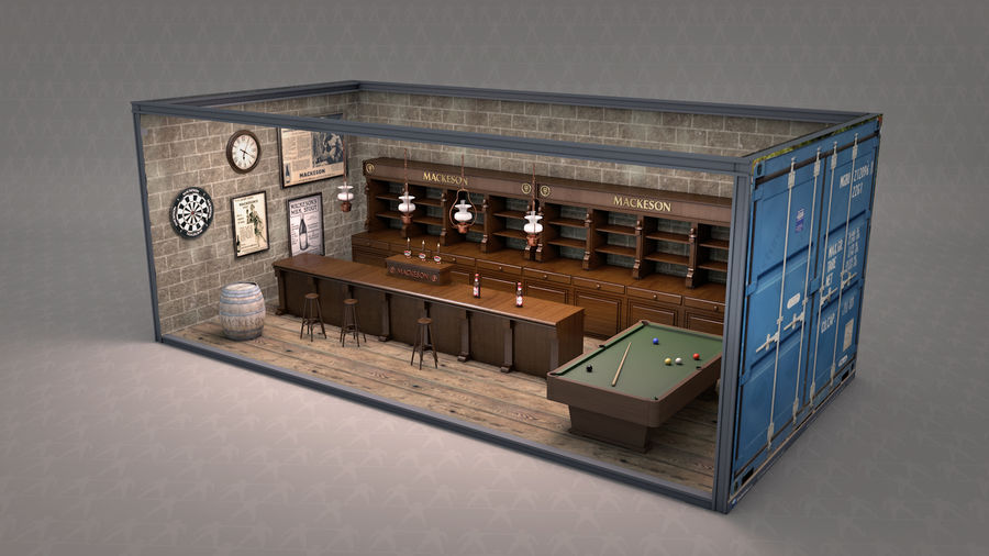 Old English Pub royalty-free 3d model - Preview no. 2