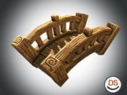 Cartoon stilisierte Holzspielbrücke 3d model