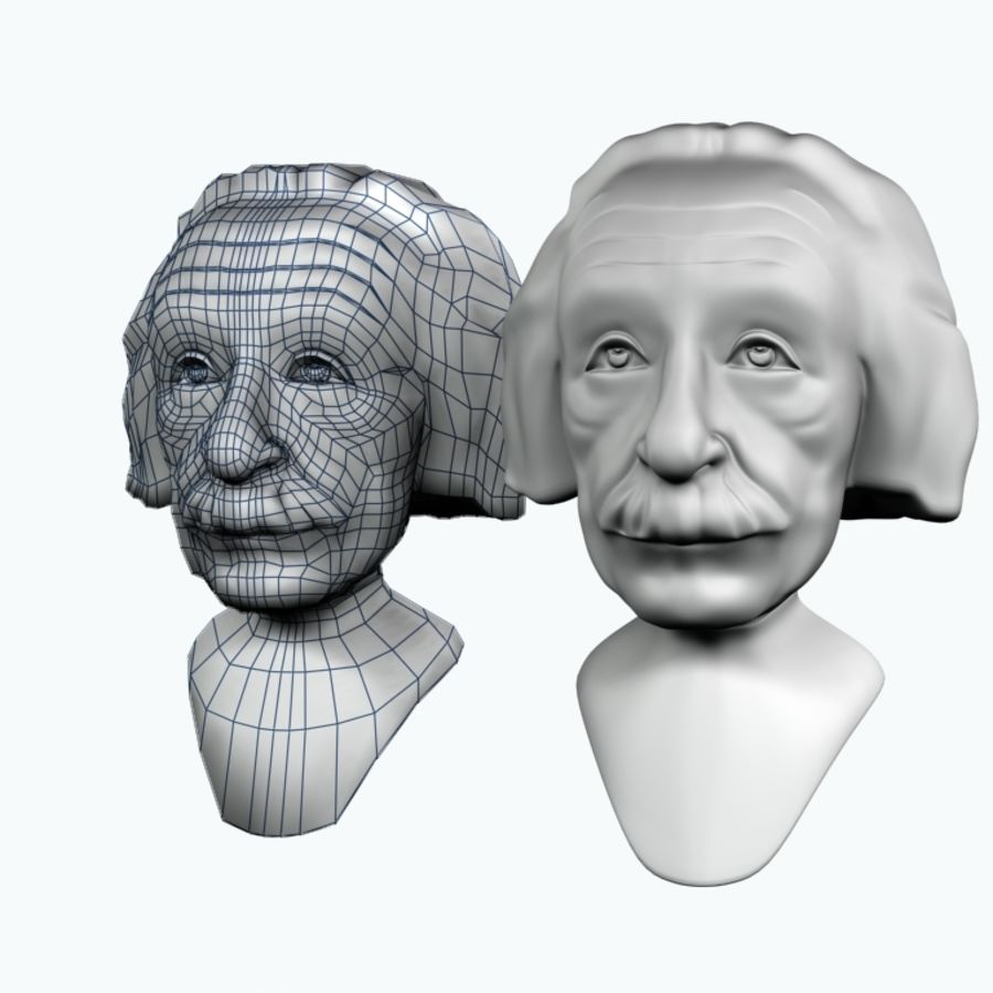 Posąg postaci Einsteina royalty-free 3d model - Preview no. 7