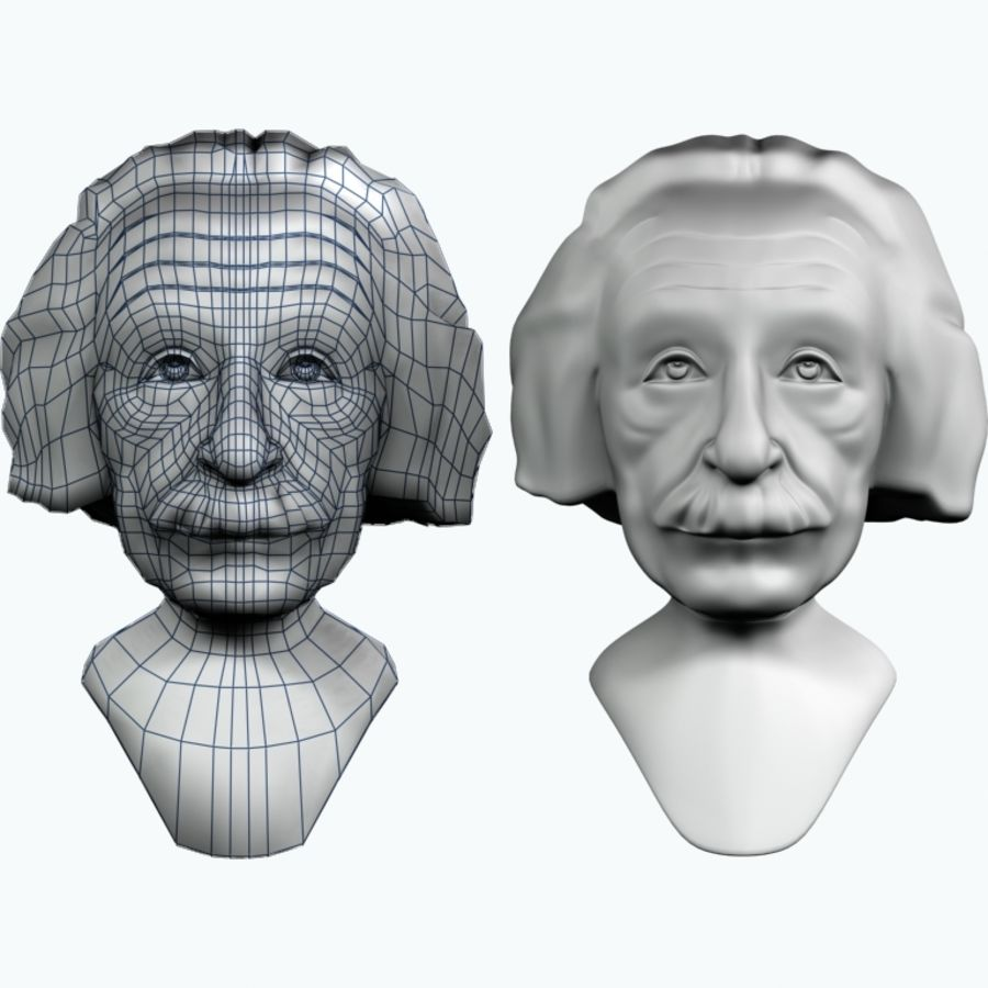 Posąg postaci Einsteina royalty-free 3d model - Preview no. 8
