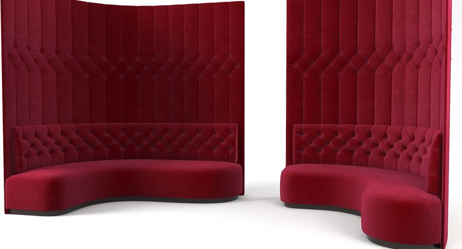 Foyer Tufted Narożne sofy narożne royalty-free 3d model - Preview no. 2
