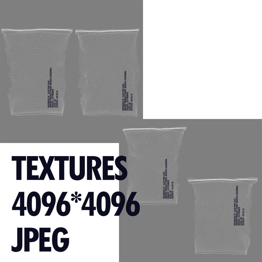 2 Sachets Bags Packaging royalty-free 3d model - Preview no. 19