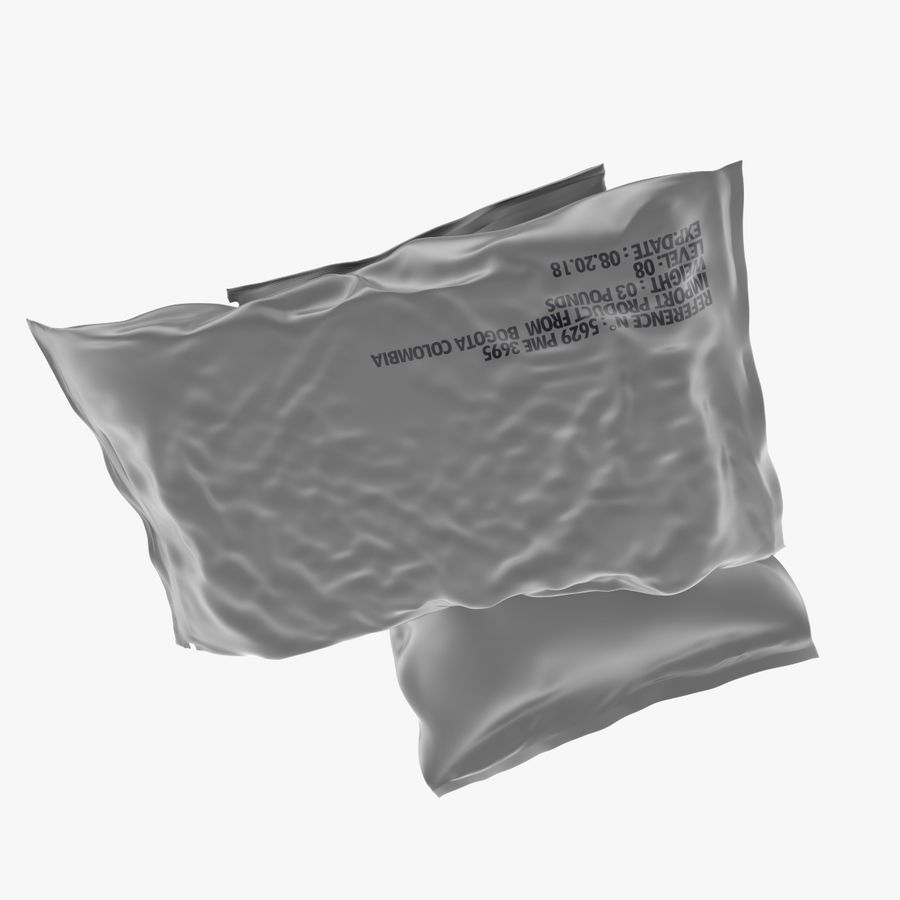2 Sachets Bags Packaging royalty-free 3d model - Preview no. 8