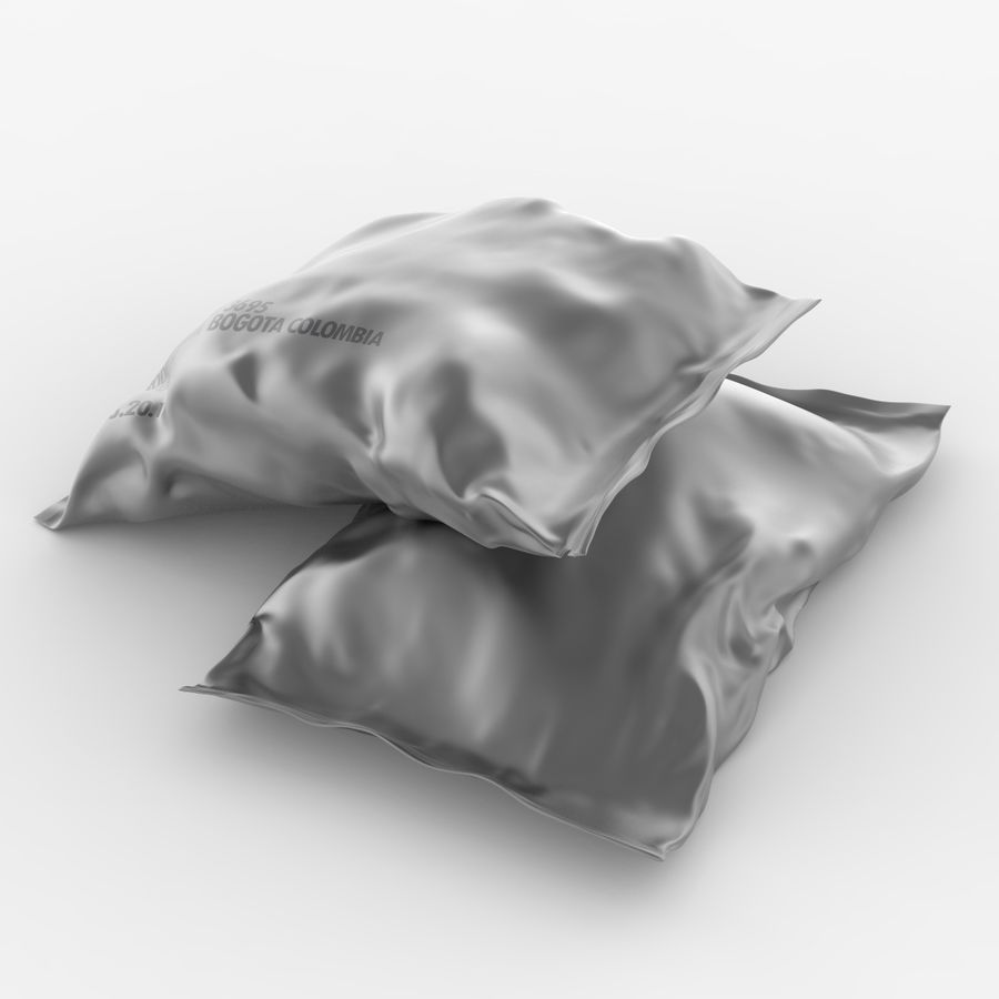 2 Sachets Bags Packaging royalty-free 3d model - Preview no. 4