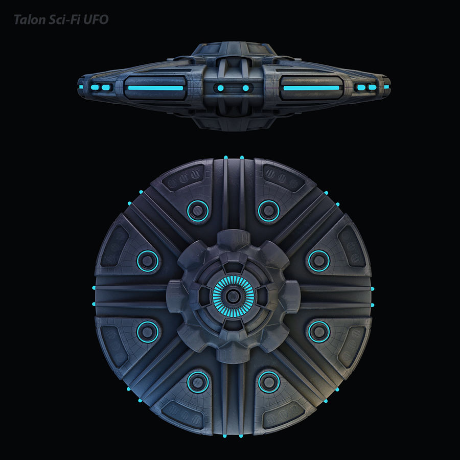 Talon Sci-Fi UFO royalty-free 3d model - Preview no. 15