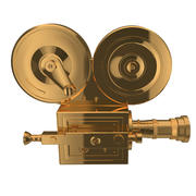 Golden vintage cinema camera 3d model