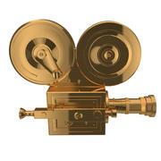 Golden vintage cinema camera 3d model