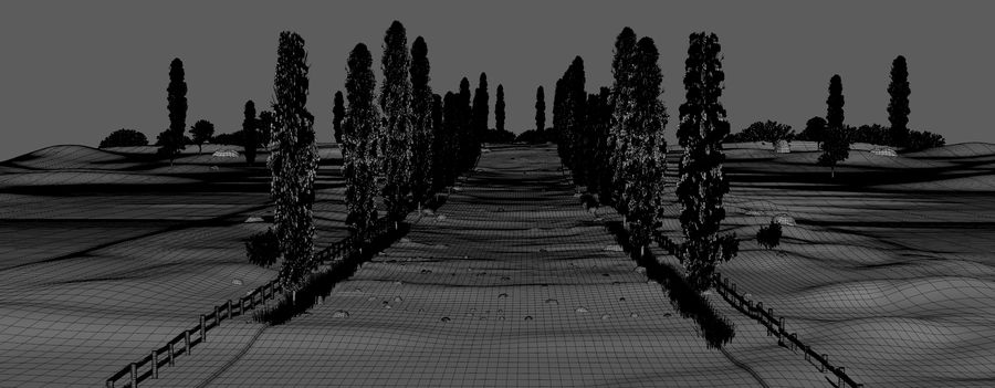 Cipres Path Landscape royalty-free 3d model - Preview no. 6