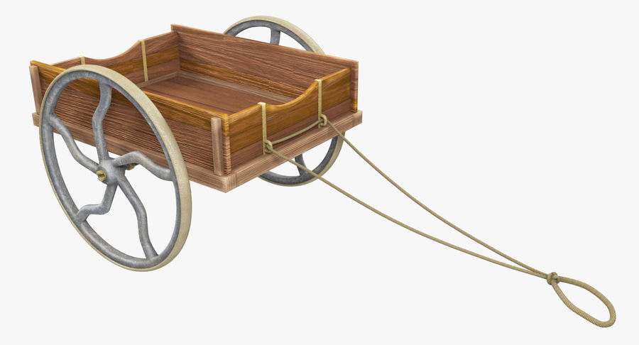 Old Wooden Cart V1 royalty-free 3d model - Preview no. 8