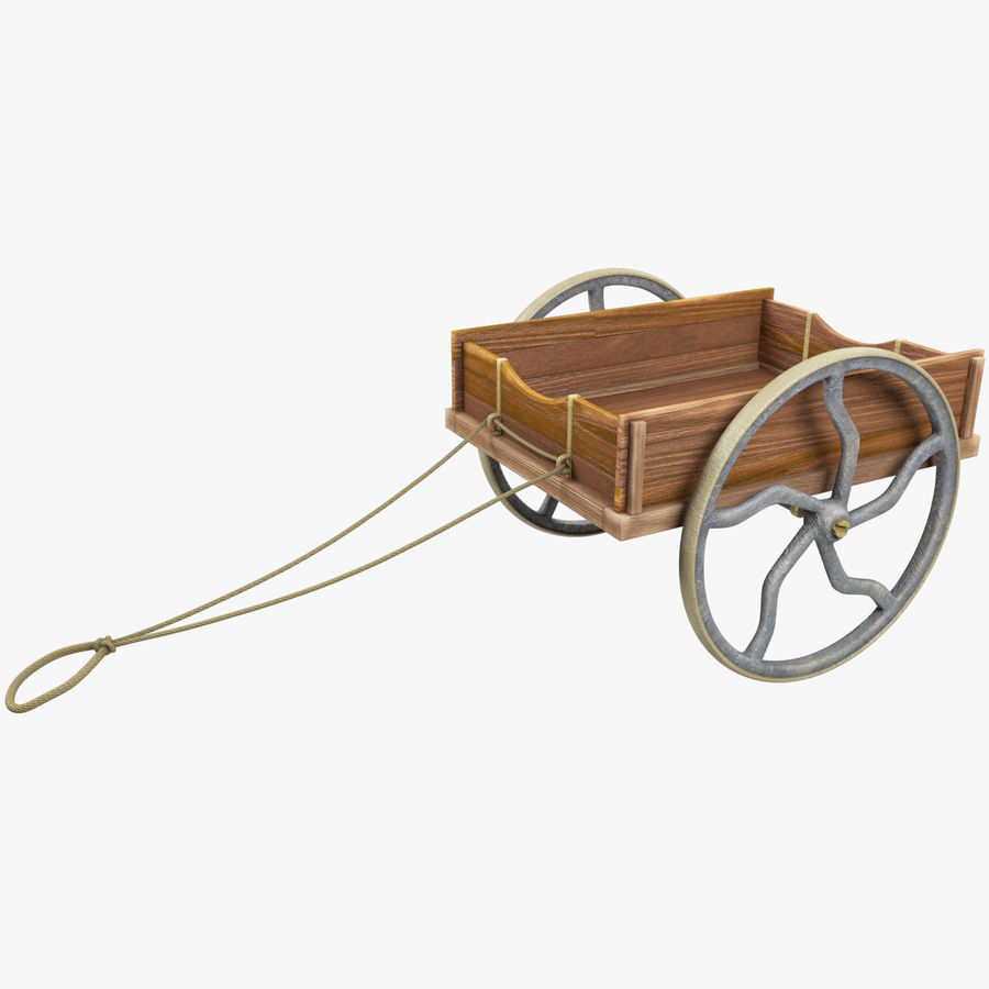 Old Wooden Cart V1 royalty-free 3d model - Preview no. 1