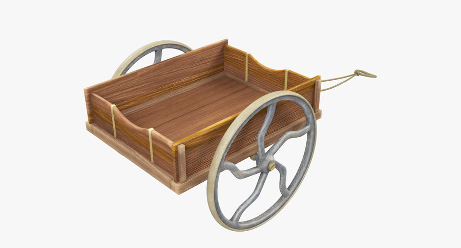 Old Wooden Cart V1 royalty-free 3d model - Preview no. 11
