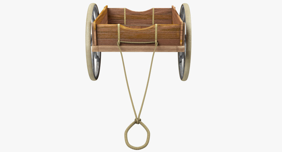 Old Wooden Cart V1 royalty-free 3d model - Preview no. 9