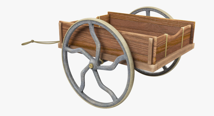 Old Wooden Cart V1 royalty-free 3d model - Preview no. 5