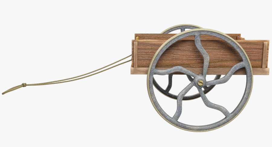 Old Wooden Cart V1 royalty-free 3d model - Preview no. 4